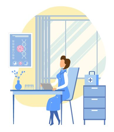 Woman Geneticist and Scientist Explores Patient DNA Sitting in Modern Staff room. Dashboard with Health Consumer Personal Information. Diseases Diagnosis, Medical Test Results. Vector Flat illustration