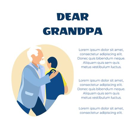 Dear Grandpa Greeting in Verse Placard. Editable Poem Congratulations. Old Grey-Haired Grandfather Teenager Grandson Embracing. Family Members Hugging. Generations. Relationship Vector Illustration
