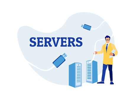 Cartoon Sysadmin Man Engineer Working with Server Rack. Cloud Storage and Online Computing Technology Maintenance. Servers Building. Data center Connection Network. Vector Flat Illustration