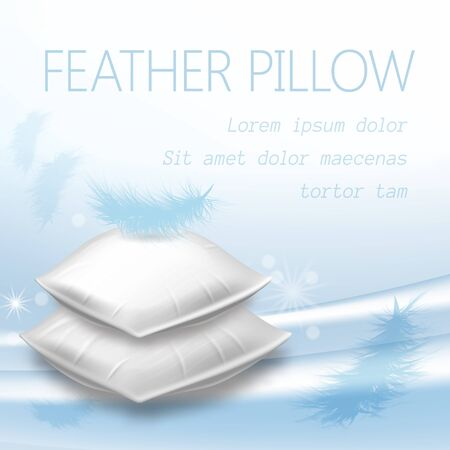 Heap of Blank Rectangular Pillows with Feather on Top, Soft Cushions Mock Up Side View for Comfortable Sleep and Relaxation, Advertising Poster Design, Realistic 3d Vector Illustration, Square Banner