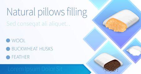 Cuscini naturali che riempiono banner orizzontale, comodi cuscini rettangolari imbottiti con lana, piume, bucce di grano saraceno, manifesto pubblicitario, volantino, modello di brochure, illustrazione vettoriale 3d realistica