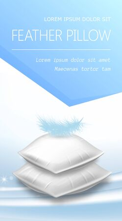 Stack of White Rectangular Pillows with Blue Feather on Top, Soft Cushions Side View for Comfortable Sleep and Relaxation, Advertising Poster Design, Realistic 3d Vector Illustration, Vertical Banner