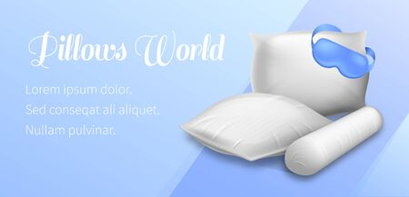 Pillows World Horizontal Banner Blank Square, Cylinder and Rectangular Pads with Blindfold on Blue Background, Soft Cushions Mock Up for Comfortable Sleep, Relaxation, Realistic 3d Vector Illustration Ilustrace