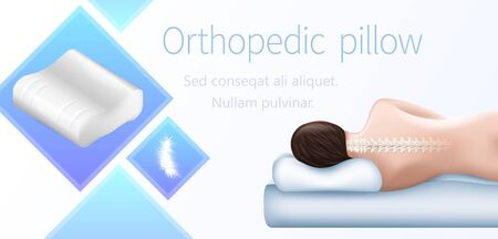 Orthopedic Pillow Horizontal Banner Correct Sleeping Position. Right Posture Cervical Vertebrae on Hypoallergenic Orthopedic Cushion with Memory Foam, Neck Health Care Realistic 3d Vector Illustration