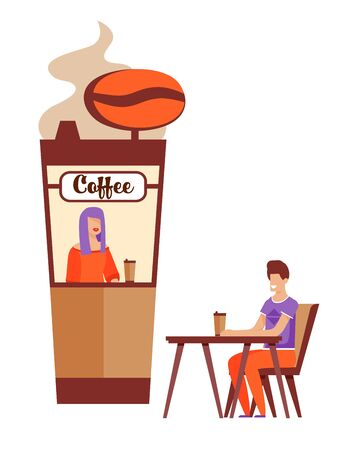Happy Cartoon Man Character with Takeaway Hot Drink Waiting for Fist Date near Coffee Kiosk with Smiling Female Seller in Window. First Romantic Meeting. Vector Isolated Flat Illustration Illustration