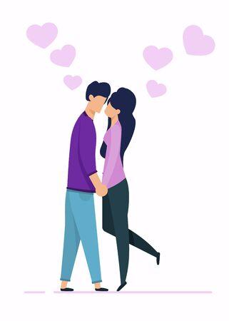 Personajes de dibujos animados hombre y mujer de pie y cogidos de la mano. Pareja de enamorados besándose. Composición vectorial plana con amantes y corazones. Citas románticas. Gente amorosa. Ilustración aislada