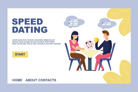 Landing Page Inviting on Effective Speed Dating. Flat Cartoon Man and Woman Characters Flirting and Drinking Wine at First Romantic Meeting. Fast Date at Cafe or Restaurant. Vector Illustration