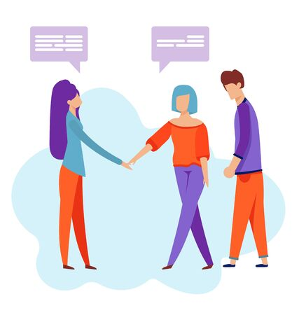 Friends Meeting. Flat Cartoon Chatting People Characters Vector Illustration. Two Woman Shaking Hands and Acquainting Themselves. Man Standing by Girls. Friendship and New Relations. Speech Windows