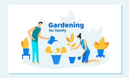 Happy Family Couple Homework with Plants. Man and Woman Characters Caring of Flowers, Removing to another Pot, Watering from Can. Gardening People at Home. Cartoon Flat Vector Illustration, Banner