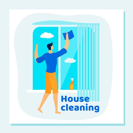 Household Man Housekeeping Process. Everyday Routine of Home Duties and Chores, Houseworking Character Cleaning House, Wiping and Washing Window with Rag. Cartoon Flat Vector Illustration, Banner