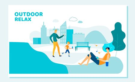 Happy Family of Father and Son Walk in City Park Eating Ice Cream. Young Man Lying on Lawn with Gadget. Outdoor Relax, Summer Activity Open Air Weekend Leisure Cartoon Flat Vector Illustration, Banner Ilustração