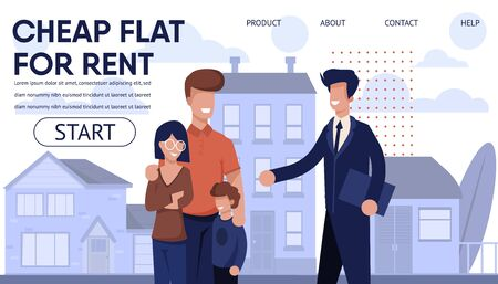 Real Estate Agency Landing Page with Best Offers. Cheap Flat in Apartment House, Affordable Cottages and Budget Property Types. Vector Cartoon Realtor and Happy Family over Rental Housing Illustration