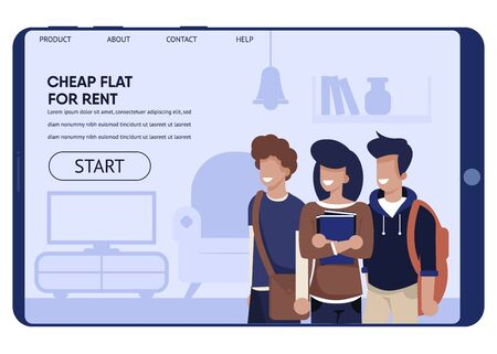 Flat Sharing at Best Price for Student Landing Page. Cartoon Happy Male and Female Teenager Characters Stand in Furnished Living Room on Tablet Screen. Promo Text and Start Button. Vector Illustration  イラスト・ベクター素材
