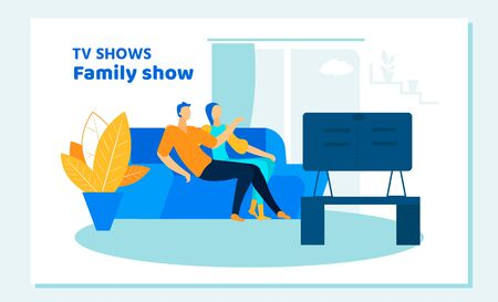 Young Loving Couple Watching TV Show at Home. Man and Woman Characters Sitting on Couch Together in Weekend Evening. Love, Family Leisure, Sparetime, Day Off, Cinema. Cartoon Flat Vector Illustration