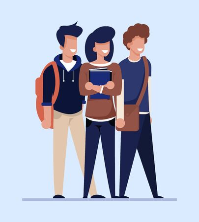 Los estudiantes de dibujos animados buscan un piso, un apartamento o una habitación baratos para alquilar. Personajes masculinos y femeninos sonrientes felices, soporte del grupo de jóvenes aislado en blanco. Piso compartido, vivienda compartida. Ilustración vectorial