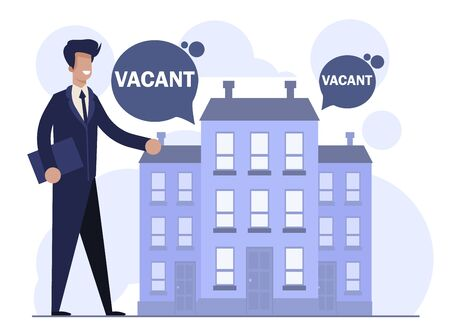 Flat Cartoon Realtor Male Character Showing Vacant Flat in House Apartment. Real Estate for Families, Students and Single People. Offer Selling and Buying New Place for Living. Vector Illustration