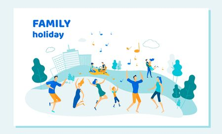 Family Holiday Banner, Happy People Having Fun in Public City Park Dancing and Enjoying Summer Time. Diverse Characters, Adults and Kids Rejoice, Outdoors Fun Activity Cartoon Flat Vector Illustration Illustration