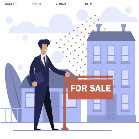 Cartoon Realtor Man Character Standing near Ad Signboard and Buildings for Rent. Real Estate Agent Showing Flat in Apartment House and Cottage for Sale. Buying New Home. Vector Illustration