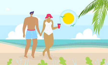 Flat Cartoon Couple in Love Walking on Sand Beach near Sea. Woman and Man Characters, Married Pair, Young Family Travel during Honeymoon or Rest on Vacation in Tropical Island. Vector Illustration Ilustrace