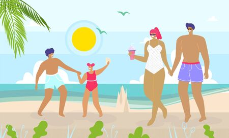 Cartoon Happy Family Walking and Having Rest on Beach. Mother, Father and Children with Suntan on Skin Enjoy Recreation at Seaside. Son and Daughter Built Sand Castle. Vector Flat Illustration  イラスト・ベクター素材