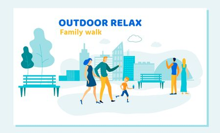 Happy Family of Mother, Father and Little Son Walk in City Park Eating Ice Cream. Loving Couple Dating. Outdoor Relax, Summer Activity Open Air Weekend Leisure Cartoon Flat Vector Illustration, Banner
