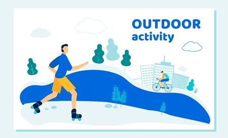 People in Sports Wear Biking and Rollerblading in Public City Park Nature Landscape Background. Summertime Outdoor Activity. Healthy Lifestyle, Sport, Leisure. Cartoon Flat Vector Illustration, Banner