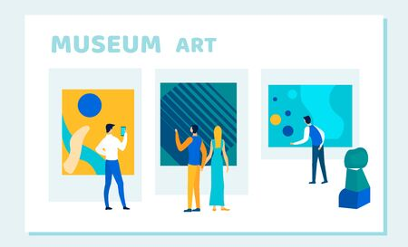 Exhibition Visitors Viewing Modern Abstract Paintings Hanging on Walls at Contemporary Art Gallery. People Watching Creative Museum Art, Artworks or Exhibits Cartoon Flat Vector Illustration, Banner