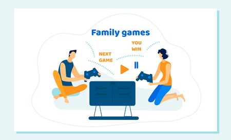 Family Couple Sitting on Sofa Playing Computer Games in  Gaming Console. Leisure, Addiction, Spare Time, Virtual Reality. People Spending Free Time Cartoon Flat Vector Illustration, Banner