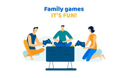 Company of Men and Woman Playing Video Games at Home, Adult Friends Competition, Fun, Virtual Reality, Weekend Spare Time, Leisure, Family Party, Gaming Hobby. Cartoon Flat Vector Illustration, Banner