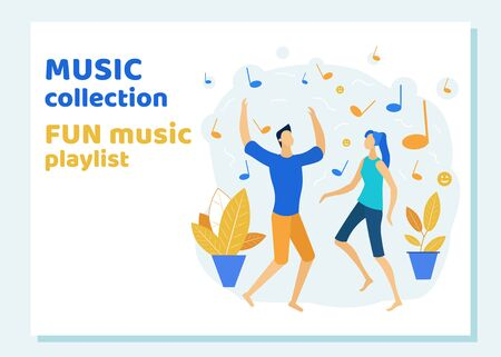 Young Couple Dancing and Listening Fun Music Playlist Collection. Disco Party. Man and Woman Celebrating, Spending Time Together Moving to Music Rhythm Leisure Cartoon Flat Vector Illustration, Banner Ilustrace
