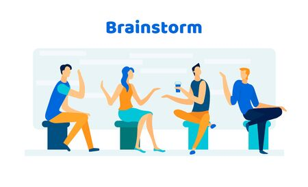 Relaxed Friendly Colleagues, Friends, Businesspeople Brainstorm During Company Meeting in Office or Coworking Area Discussing Startup Ideas on Briefing Meeting Cartoon Flat Vector Illustration, Banner