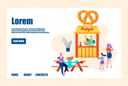 Seller Prepare Fresh Bakery for Customers, Young Family of Dad, Mom and Daughter at Pretzel Stall Waiting Order, Outdoor Cafe, Weekend Spare Time, Vacation, Cartoon Flat Vector Illustration, Banner  イラスト・ベクター素材