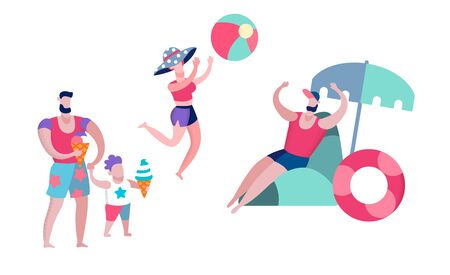 Father, Mother and Little Son Having Leisure on Resort, Playing Ball, Sandcastle Summer Time Vacation Happy Family Relaxing on Beach Isolated on White Background, Cartoon Flat Vector Illustration