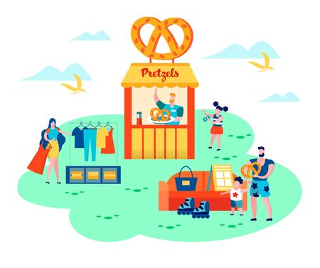 People around of Pretzels Kiosk, on Summer Time Garage Sale. Happy Family Spending Time on Weekend Sell Old Things and Clothes Outdoors on Fair Event, Relax, Vacation. Cartoon Flat Vector Illustration
