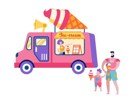 Father and Son Relaxing on Beach Stand at Van with Ice Cream Isolated on White Background, Happy Family Summer Time Vacation on Resort, Leisure Spending Time Together Cartoon Flat Vector Illustration