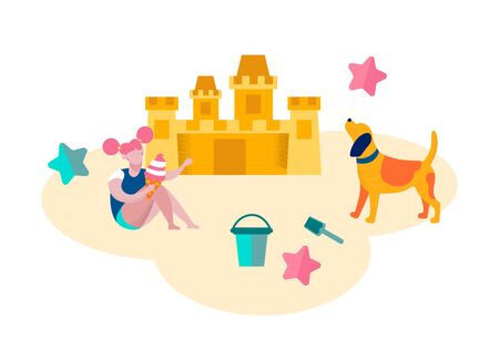 Little Girl Playing on Beach Building Sand Castle, Playing with Dog. Leisure on Resort, Summer Time Vacation Happy Child Relaxing on Beach Isolated on White Background Cartoon Flat Vector Illustration