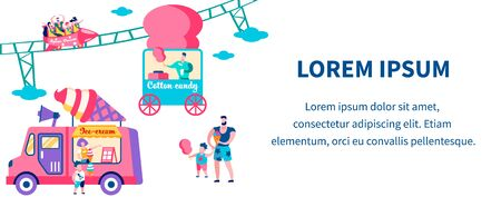 People Riding Attraction in Amusement Park. Family Holidays, Children Eating Ice Cream and Cotton Candy. Summer Time Vacation, Leisure, Weekend Spare Time Cartoon Flat Vector Illustration, Banner