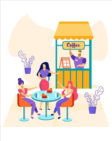 Happy Relaxed People Sitting at Tables at Outdoor Cafe at Summer Time, Drinking Coffee, Talking on Outdoors View Background. Women Friends Characters Meeting Relaxing. Cartoon Flat Vector Illustration Ilustrace