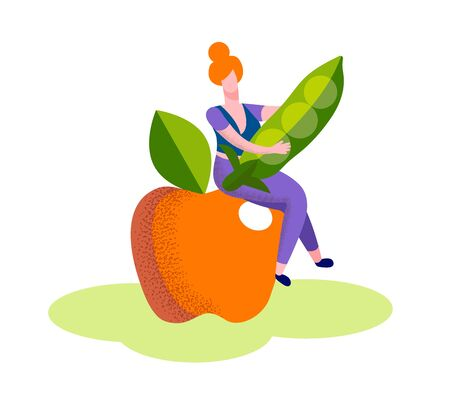 Young Woman Sitting on Huge Ripe Apple Hold Green Pea Pod in Hands Isolated on White Background, Vegetarian and Diet Healthy Food, Fortified Nutrition, Fruit Vegetable Cartoon Flat Vector Illustration