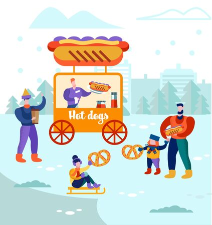 Men with Kids Walk near Hot Dogs in Stall, Kiosk Riding Sled, Eating Bakery, Buying Street Food, Holidays Season Activity. Christmas Market or Winter Outdoor Fair. Cartoon Flat Vector Illustration Ilustrace