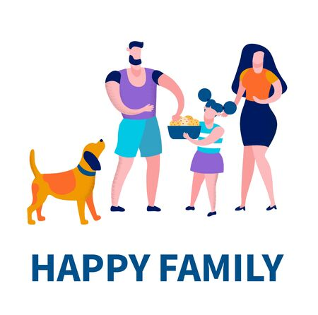 Happy Family Square Banner, Father, Mother, Daughter and Dog Spend Time, Girl Hold Plate with Cookies, Dad Eat Bakery, Love, Loving Human Relations, Happiness, Leisure Cartoon Flat Vector Illustration