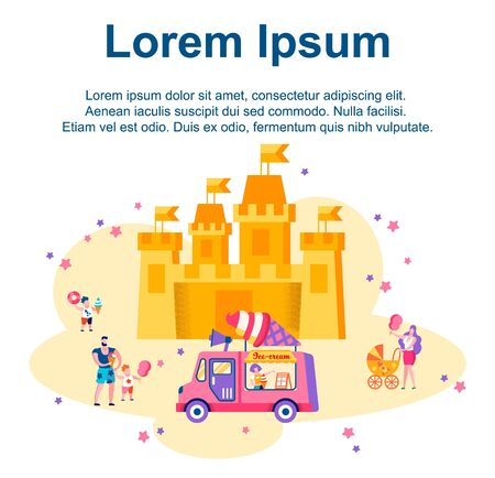 People Walking around Huge Castle Attraction, Summer Time Vacation in Amusement Park. Family Holidays, Children Eating Ice Cream and Cotton Candy, Leisure, Cartoon Flat Vector Illustration, Banner