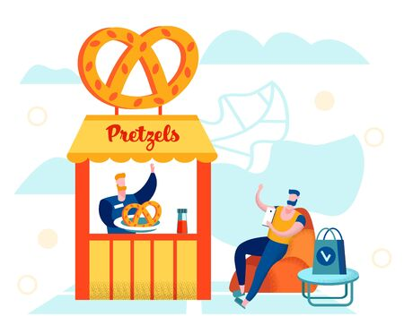 Seller Prepare Fresh Bakery for Customer, Young Man Sitting with Smartphone at Pretzel Stall Waiting Order, Outdoor Cafe, Weekend Spare Time, Vacation, Summer. Cartoon Flat Vector Illustration, Banner