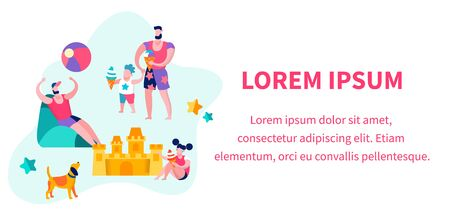 Happy Family of Father, Daughter and Son Relaxing on Beach, Boy Eating Ice Cream, Summer Time Vacation on Resort, Leisure, Man and Child Spend Time Together. Cartoon Flat Vector Illustration, Banner