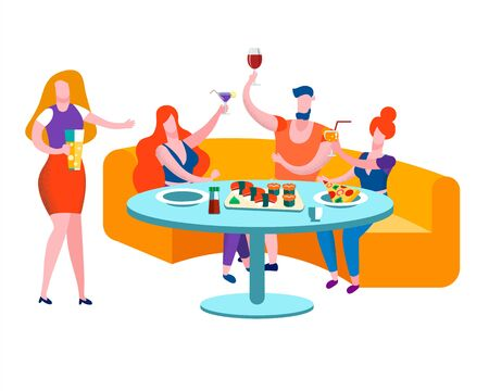 Friends Meeting and Celebrate Party in Bar. Company of Young People Having Sushi Meal, Pizza, Beer, Communicating, Chatting, Spending Leisure Time Together on Weekend. Cartoon Flat Vector Illustration