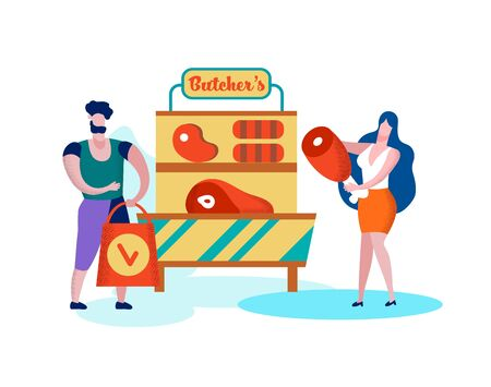Happy Family of Wife and Husband Shopping Healthy Butcher Meat Production in Grocery Isolated on White Background, Fresh Healthy Food, Organic Farmer Product on Stall, Cartoon Flat Vector Illustration Ilustração