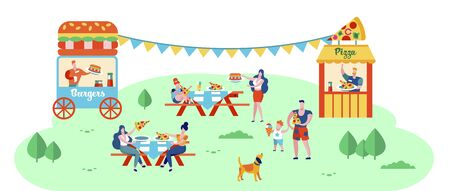 People Eating Out in Public Place Sitting at Tables Outdoors on Nature Background, Pizza and Burgers Fest, Fair Event, Summer Leisure, Vacation, Street Food, Weekend. Cartoon Flat Vector Illustration
