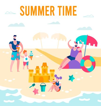 Summer Time Banner, Happy Family of Father, Daughter and Son Relax on Beach, Boy Eating Ice Cream, Girl Build Sand Castle, Rescuer Life Buoy, Vacation Resort, Leisure Cartoon Flat Vector Illustration Ilustração