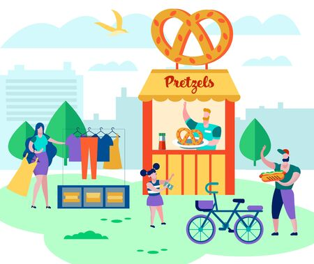 Happy Family Spending Time on Weekend Sell Old Things and Clothes Outdoors on Fair Event, Relax, Vacation. People around of Pretzels Kiosk, on Summer Time Garage Sale. Cartoon Flat Vector Illustration