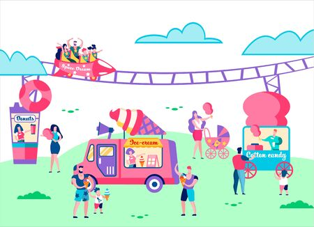 Amusement Park. People Riding on Carousel, Railway Attraction, Family Holidays, Children Eating Ice Cream and Cotton Candy. Summer Time Vacation, Leisure, Relax, Fun. Cartoon Flat Vector Illustration